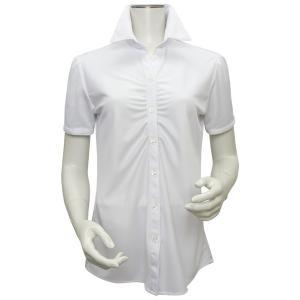 新体型 半袖 ニットシャツ レディースシャツ スキッパー衿 白×市松織柄|shirt