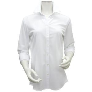 新体型 七分袖 ニットシャツ レディースシャツ スキッパー衿 白×斜めストライプ織柄|shirt