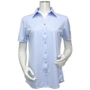 レディース ウィメンズシャツ 半袖 ニットシャツ スキッパー衿 白×サックスチェック|shirt