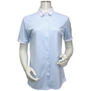 レディース ウィメンズシャツ 半袖 ニットシャツ クレリック レギュラー衿 白×サックスストライプ|shirt