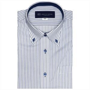 ワイシャツ 半袖 形態安定 ドゥエボットーニ ボタンダウン 白×ブルー系ストライプ (再生ポリエステル) Just Style|シャツ工房グループ ONLINE SHOP