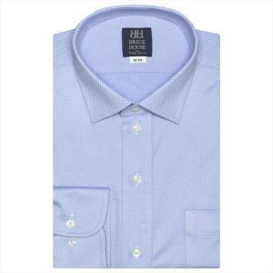 ワイシャツ 長袖 形態安定 ビズポロ ニットシャツ ワイド ブルー×織柄 標準体|シャツ工房グループ ONLINE SHOP