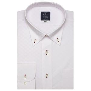 長袖 ワイシャツ 形態安定 ボタンダウン ピンク×市松チェック織柄