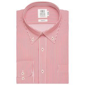 スリム 長袖 ワイシャツ 形態安定 ボタンダウン 白×レッドストライプ