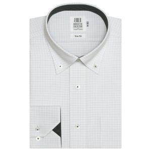 スリム 長袖 ワイシャツ 形態安定 ドゥエボットーニ ボタンダウン 白×グレーチェック