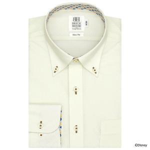 Disney ディズニー / スリム 長袖 ワイシャツ 形態安定 ボタンダウン クリームイエロー×ダイヤチェック織柄|shirt