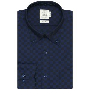 スリム 長袖 ワイシャツ 形態安定 ボタンダウン ネイビー×市松格子織柄|shirt