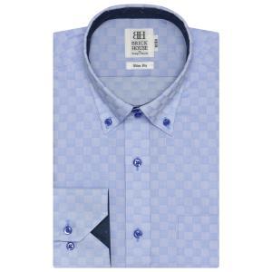 スリム 長袖 ワイシャツ 形態安定 ドゥエボットーニ ボタンダウン サックス×市松格子織柄|shirt