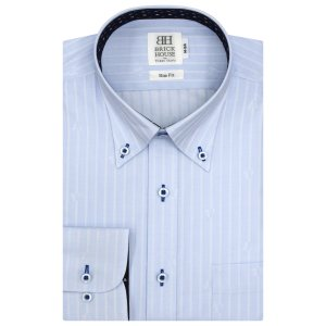 Disney ディズニー / スリム 長袖 ワイシャツ 形態安定 ボタンダウン サックス×ストライプ、ミッキーシェイプ織柄|shirt