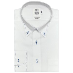 スリム 長袖 ワイシャツ 形態安定 ボタンダウン 綿100% 白×スクエアドット織柄|shirt