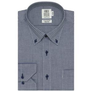 ワイシャツ 長袖 形態安定 ドゥエボットーニ ボタンダウン 綿100% ネイビー×千鳥格子柄織柄 スリム|shirt