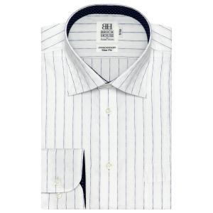 ワイシャツ 長袖 形態安定 ワイド 綿100% 白×ブルーストライプ スリム|shirt