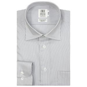 スリム 長袖 ワイシャツ 形態安定 ワイド 綿100% 白×グレーストライプ|shirt