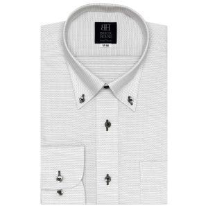 標準体 長袖 ワイシャツ 形態安定 ボタンダウン 白×グレー刺子調柄|shirt