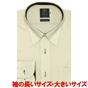 ワイシャツ 長袖 形態安定 スナップダウン 綿100% ベージュ×小紋織柄 袖の長い・大きいサイズ shirt