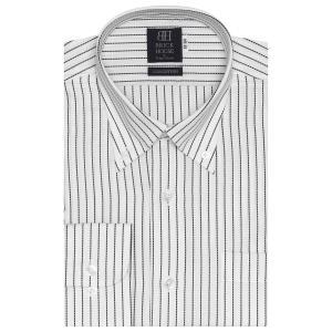 標準体 長袖 ワイシャツ 形態安定 ボタンダウン 綿100% 白×黒ストライプ|shirt