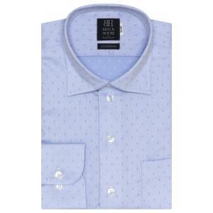 標準体 長袖 ワイシャツ 形態安定 ワイド 綿100% サックス×ドット織柄|shirt