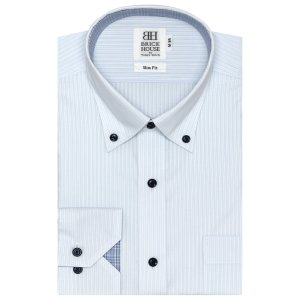 スリム 長袖 ワイシャツ 形態安定 ドゥエボットーニ ボタンダウン サックス×白ストライプ|shirt