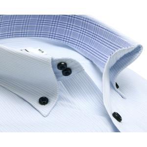 スリム 長袖 ワイシャツ 形態安定 ドゥエボットーニ ボタンダウン サックス×白ストライプ|shirt|02