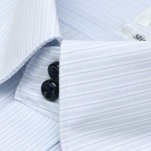 スリム 長袖 ワイシャツ 形態安定 ドゥエボットーニ ボタンダウン サックス×白ストライプ|shirt|03