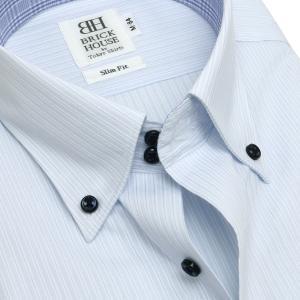 スリム 長袖 ワイシャツ 形態安定 ドゥエボットーニ ボタンダウン サックス×白ストライプ|shirt|04