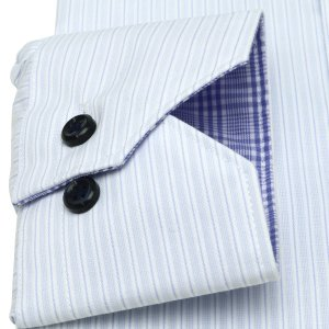 スリム 長袖 ワイシャツ 形態安定 ドゥエボットーニ ボタンダウン サックス×白ストライプ|shirt|05