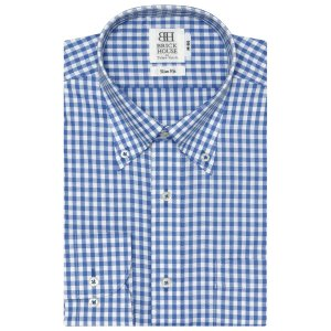 スリム 長袖 ワイシャツ 形態安定 ボタンダウン 白×ブルーチェック|shirt