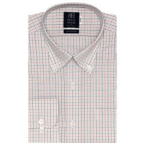 標準体 長袖 ワイシャツ 形態安定 ボタンダウン 綿100% 白×黒、レッドチェック|shirt