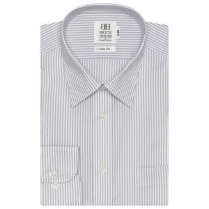 スリム 長袖 ワイシャツ 形態安定 レギュラー 白×グレーストライプ|shirt