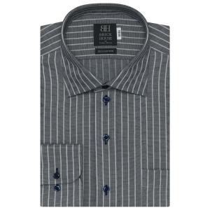 ワイシャツ 長袖 形態安定 ワイド 綿100% ネイビー×白ストライプ 標準体 shirt