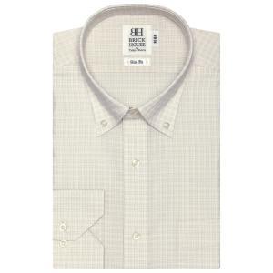 スリム 長袖 ワイシャツ 形態安定 ドゥエボットーニ ボタンダウン 白×ベージュチェック|shirt