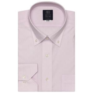 標準体 長袖 ワイシャツ 形態安定 ドゥエボットーニ ボタンダウン ピンク×ストライプ織柄|shirt