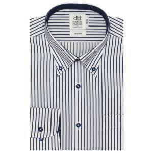 スリム 長袖 ワイシャツ 形態安定 ボタンダウン 白×ネイビーストライプ|shirt