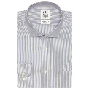 スリム 長袖 ワイシャツ 形態安定 ショート ワイド 綿100% 白×サックス、ネイビー、ブラウンストライプ