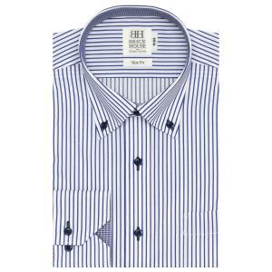 スリム 長袖 ワイシャツ 形態安定 ドゥエボットーニ ボタンダウン 白×ネイビーストライプ|shirt