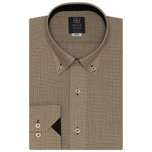ワイシャツ 長袖 形態安定 ドゥエボットーニ ボタンダウン ブラウン×白チェック 標準体 shirt