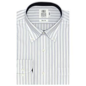 ワイシャツ 長袖 形態安定 ボタンダウン 白×ブルー、ブラウンストライプ スリム|shirt