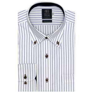 ワイシャツ 長袖 形態安定 ボタンダウン 綿100% 白×ブルーストライプ 標準体|shirt