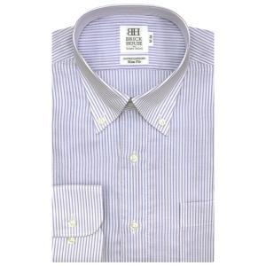 ワイシャツ 長袖 形態安定 Wガーゼ ボタンダウン 綿100% 白×サックス、ブルー、エンジストライプ スリム|shirt