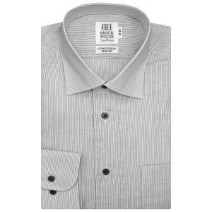 スリム 長袖 Wガーゼ ワイシャツ 形態安定 ワイド 綿100% 白×黒ストライプ|shirt