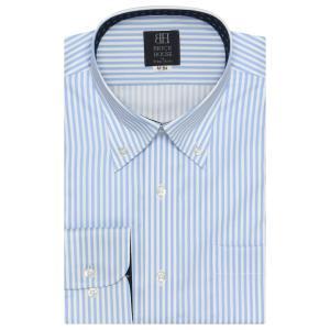 標準体 長袖 ワイシャツ 形態安定 ボタンダウン 白×サックスストライプ