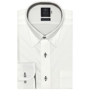 標準体 長袖 ニットシャツ 形態安定 スナップダウン 白×織柄|shirt