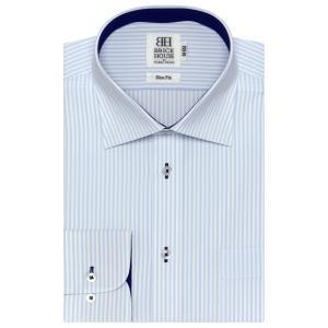 スリム 長袖 ワイシャツ 形態安定 ワイド 白×サックスストライプ|shirt