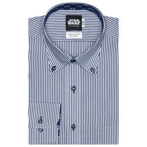 STAR WARS スター・ウォーズ / スリム 長袖 ワイシャツ 形態安定 ボタンダウン 綿100% 白×ネイビーストライプ(R2-D2柄別布)|shirt