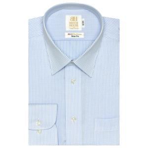 ワイシャツ 長袖 形態安定 レギュラー 綿100% 白×サックスストライプ スリム|shirt
