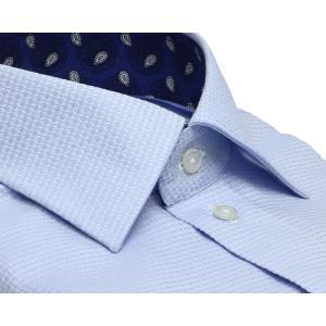標準体 長袖 ワイシャツ 形態安定 ワイド 綿100% サックス×織柄|shirt|02