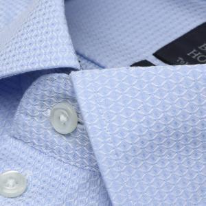 標準体 長袖 ワイシャツ 形態安定 ワイド 綿100% サックス×織柄|shirt|03