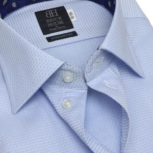 標準体 長袖 ワイシャツ 形態安定 ワイド 綿100% サックス×織柄|shirt|04