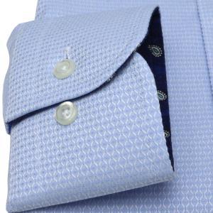 標準体 長袖 ワイシャツ 形態安定 ワイド 綿100% サックス×織柄|shirt|05