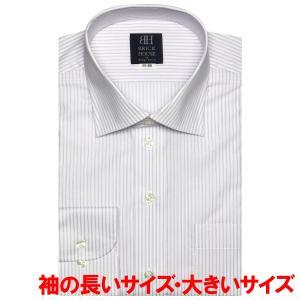 ワイシャツ 長袖 形態安定 ワイド  白×パープルストライプ 袖の長い・大きいサイズ|shirt